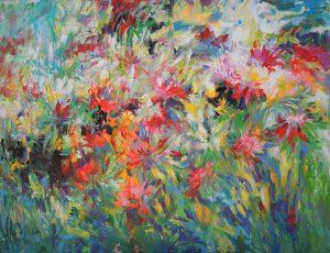 Dalhias, soleils d'automne, 116x89cm