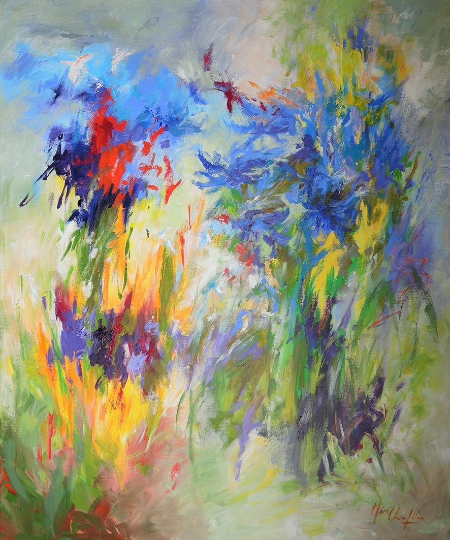 Mary Chaplin Artiste Peintre je me souviens des agapanthes bleues, acrylique sur toile