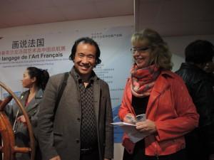 Avec M. WANG Ji lors de la sélection au centre d'Art d'Aulnay sous Bois des oeuvres qui partiront pour la Chine