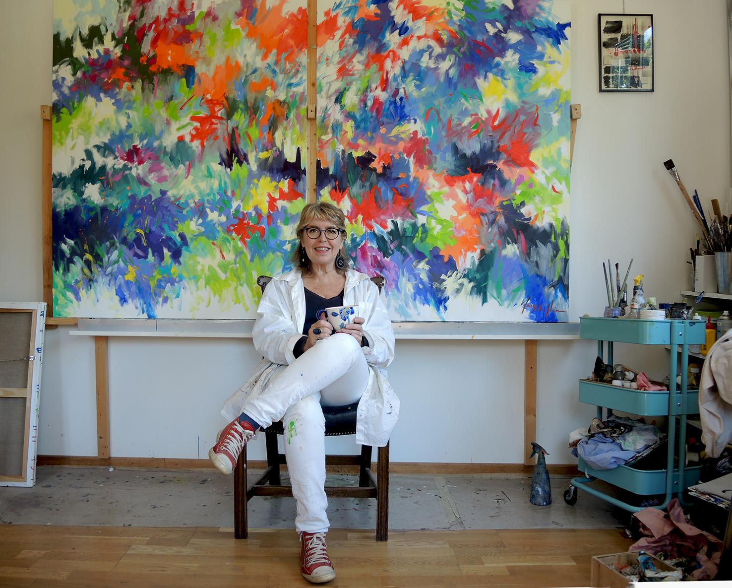 Mary Chaplin Artiste Peintre in-situ : photos atelier et souvenirs d'expo -